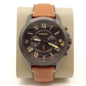 NWT FOSSIL Grant Chronograph Watch Brown Leather